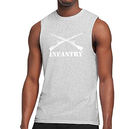 Army Infantry Branch Insignia Athletic Men's Essential Muscle Top Sleeveless T-Shirt Gray M