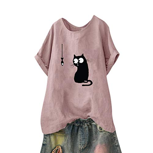 TWGONE Cat Shirt Women Funny Loose Plus Size Beach Vintage Blouse Tee Tops(Medium,Pink-2)
