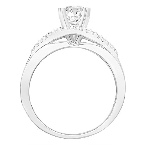 14K White Gold 1.77 CTW Princess Cut Infinity Twisting Split Shank Pave Set Round Diamonds Engagement Ring, J Color I2 Clarity, 1.5 Ct Center