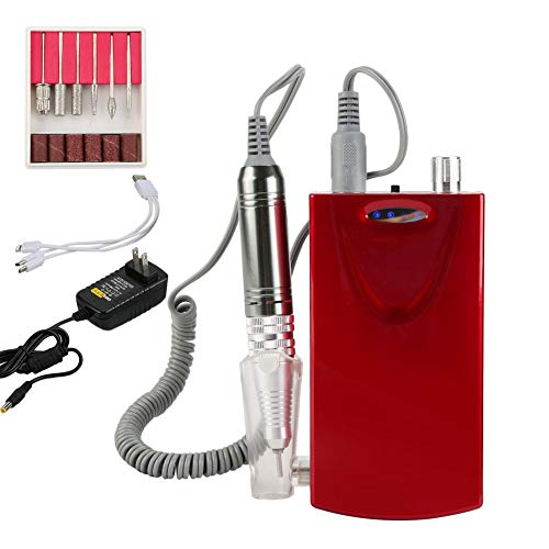 Coldcedar Professional Rechargeable Nail Drill – Electric Manicure Pedicure Drill Kit with LED Display – 6pc Drill Bits for Professional or Home Use -Salon Equipment 6000 mAh Power Bank (red)