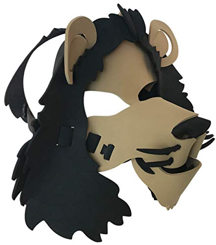 Lion Mask - Light, Comfortable, and Adjustable to Any Size - Brown & Black -