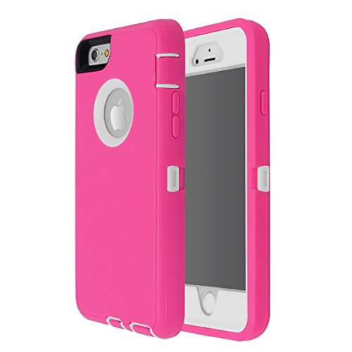 iPhone 6 Plus/6S Plus Case, Maxcury Heavy Duty Shockproof Series Case for iPhone 6 Plus/6S Plus (5.5) with Built-in Screen Protector Compatible with All US Carriers (Rose/White)