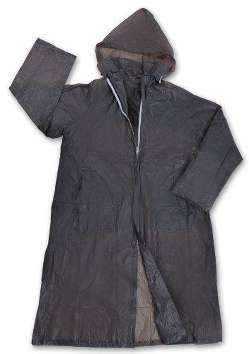 (Stansport Men's Vinyl Raincoat with Hood, Smoke, Large)