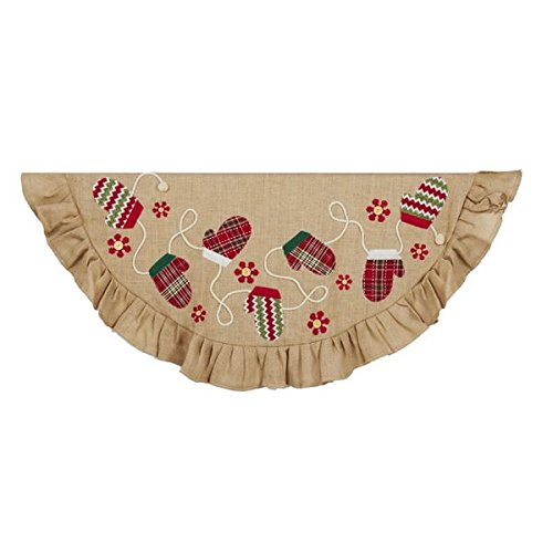 Kurt Adler 48 in. Tan and Applique and Embroidery Tree Skirt