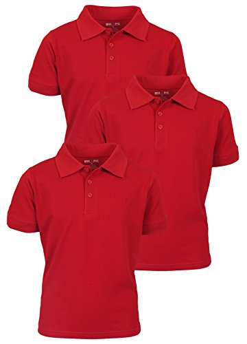 Beverly Hills Polo Club 3 Pack of Boys' Short Sleeve Pique Uniform Polo Shirts, Size 14, Red
