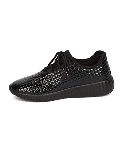 Forever Link Damen Peggy 44 Glitter Metallic gesteppte Schnürschuhe Low Top Fashion Sneaker Schwarz **