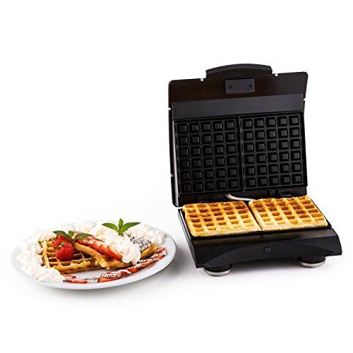 Klarstein Waffle Buddy Waffelmaker Doppel Waffeleisen für belgische Waffeln (700W, 2 Heizflächen, antihaft, hochwertige Antihaftbeschichtung, Edelstahl) silber