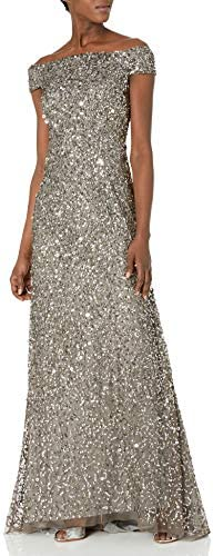 Adrianna Papell Women`s Off The Shoulder Crunchy Bead Gown