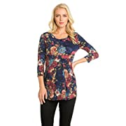 My Bump Women's 3/4 Sleeve Front Pleated Ultra Soft Maternity Top (Large, Navy#1 Flower)