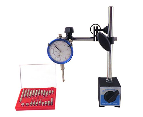 "Magnetic Base with Fine Adjustment & SAE Dial Test Indicator & 22 Piece Anvile Point Set with 0.0005: Resolution (half a thousandth), 1"" Travel, Accuracy 0.001"" per 1"" Mag Base MBDIAP"