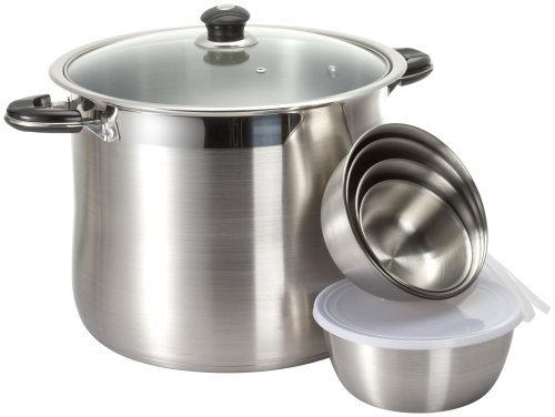 Concord Heavy Duty Stock Pot with Glass Lid and Bonus 10 piece Mixing Bowl -