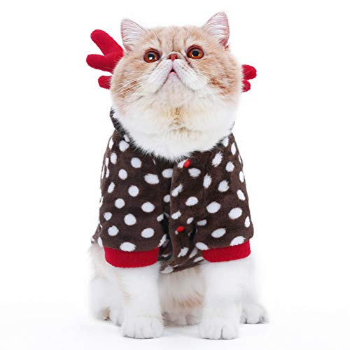 ZARYIEEO Christmas Cat Cosplay Elk Look Costume, Dog Kittens New Year Party Clothes, Pet Outfit Apparel for Cats and…