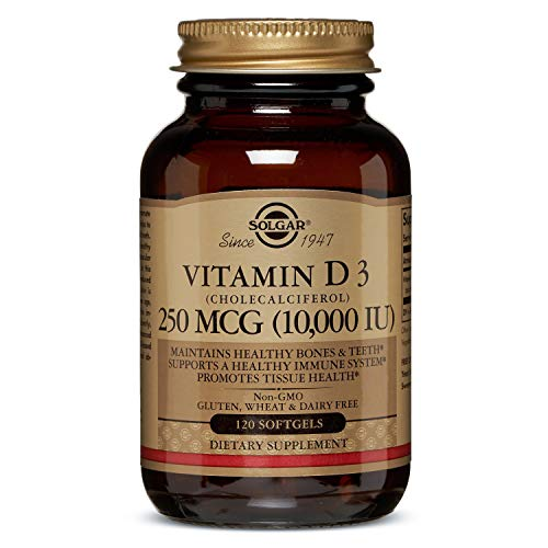 Solgar Vitamin D3 (Cholecalciferol) 250 mcg (10,000 IU), Maintains Healthy Bones and Teeth, Non-GMO, 120 Softgels