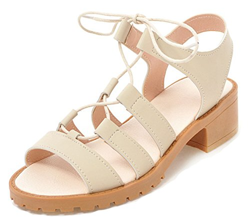 Aisun Women's Mid Heel Gladiator Sandals - Open Toe Ankle Wrap - Stacked Lace up Comfy (Beige, 8.5 B(M) US)