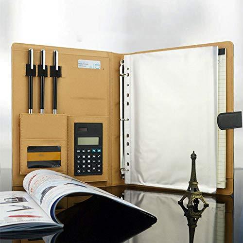 Goodjobb Multi-Function Manager Folder with Calculator Business Document Holder Travel Folder,Brown by Goodjobb (Image #5)