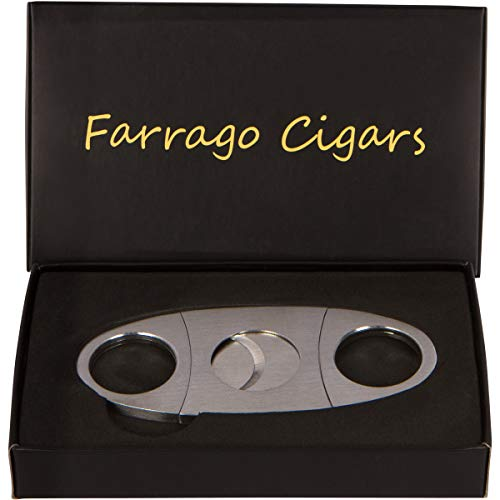 Cigar Cutter - Includes Sturdy Black Gift Box - Premium Quality Stainless Steel - Sharp Guillotine Durable Double Blade - Clean Cut - (Silver)