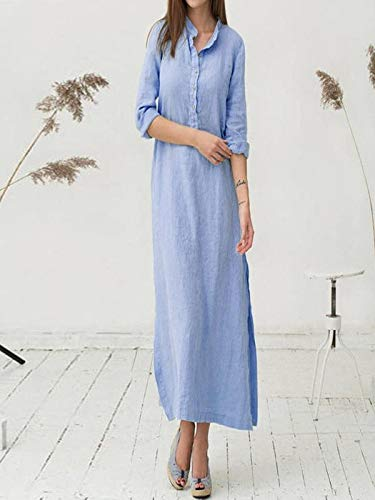 maniche 2019 Summer Dress Ladies lunghe Outfit Jutoo Party cotone a Casual Blue Elegante Cocktail Fashion Women in qqI8PHw