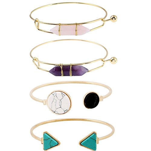 ISAACSONG.DESIGN Gold Plated Statement Stackable Open Cuff Bangle Bracelet Set for Women with Healing Turquoise Stone Charms (4pcs healing stone bracelet set)