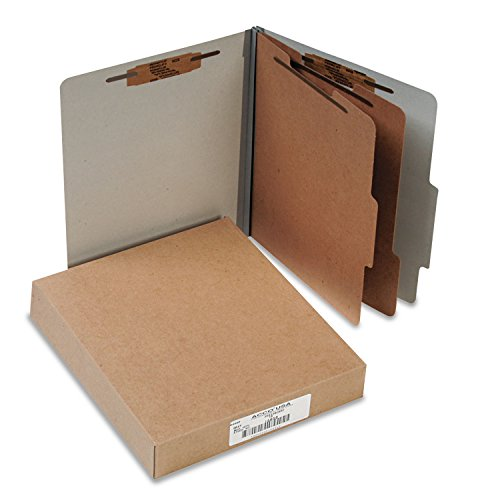 ACCO 15056 Pressboard 25-Pt Classification Folders, Letter, 6-Section, Mist Gray, 10/Box Acco Recycled Classification Folders