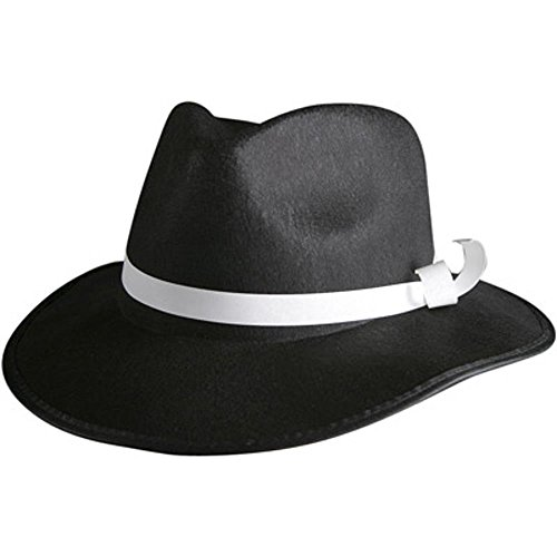 [Adult Black Felt Gangster Hat (Size:Small)] (Gangster Hats For Sale)