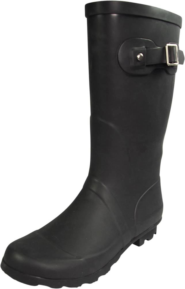 NORTY - Womens Hurricane Wellie Solid Matte Mid-Calf Rain Boot, Matte Black 39967-8B(M) US