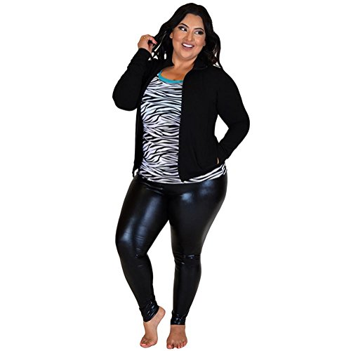 Las Stretch Es Brillante Comodidad Plus Negro Size Leggings Metálico De Mujeres rtr6xCqw
