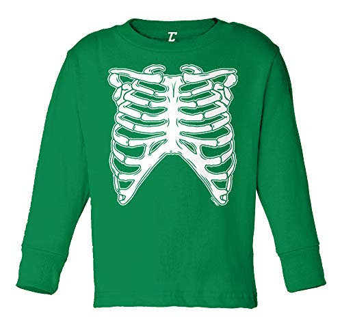 Tcombo Skeleton Ribcage - Halloween Costume Long Sleeve Toddler Cotton Jersey Shirt (Kelly, 3T) ()