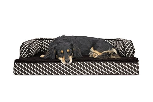 Furhaven Pet Plush & Decor Comfy Couch Memory Foam Sofa-Style Pet Bed, Medium, Diamond Brown