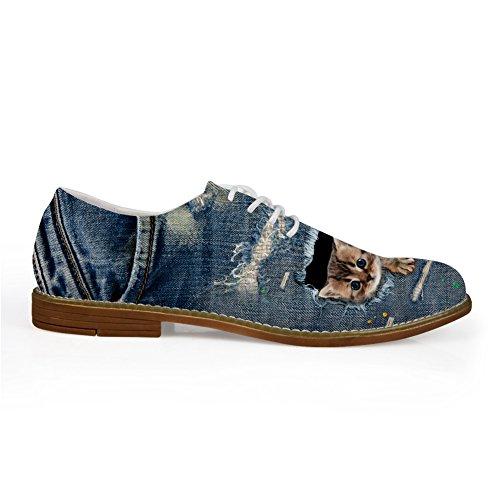 HUGS IDEA Blue Mens Casual Lace-up Oxford Platform Shoes Cat 1 gNrCD