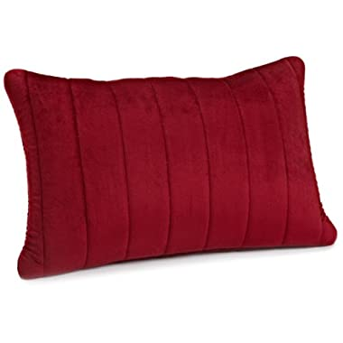 Brentwood Quilted Plush Memory Foam 13 by 18-Inch Pillow, Red