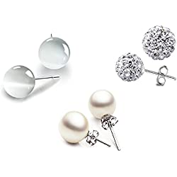 Injoy Jewelry 3 Pairs Round Ball Stud Earrings Set Faux Pearl, Crystal Ball and Synthetic Cat Eye Stone Stud Earrings for Women Girls