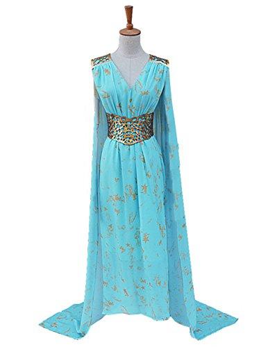 [Xiao Maomi Womens Halloween Blue Dress Cosplay Costume (Woman-S, Blue)] (Daenerys Costume For Sale)