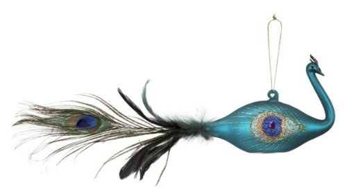 Ganz Peacock Glass Ornament Teal