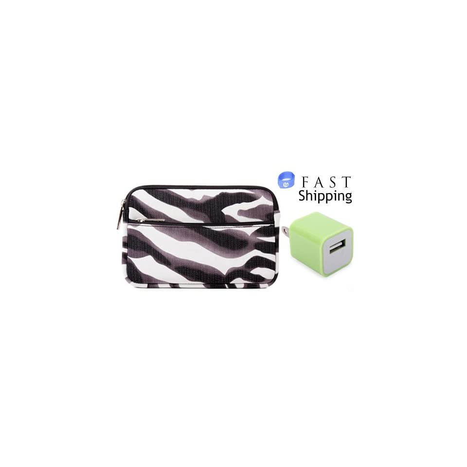 Visual Land Prestige 7 Tablet Zebra Maze Neoprene Sleeve Case with one Green USB Power Adaptor Wall Travel Charger + EnvyDeal Velcro Cord