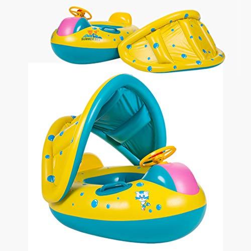 Oziral Flotador para bebé con Asiento Respaldo Techo del Sol Barca Flotador de Piscinas para Bebés Niños 1-3 Años Edad: Amazon.es: Juguetes y juegos