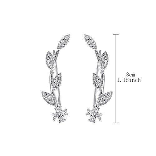 Ear Crawler Earrings for Women Ear Climber Cuff Earrings Silver Leaf CZ by DIDa (Image #5)