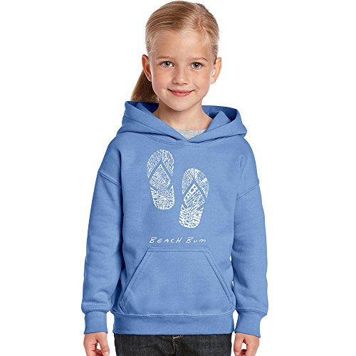 LA Pop Art Girl's Word Art Hooded Sweatshirt - Beach Bum