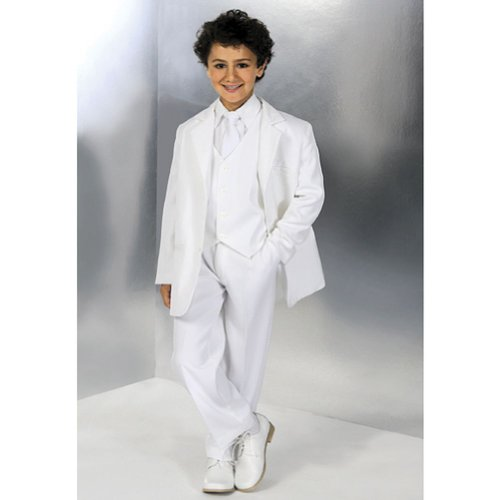Corrine Little Boys Size 5 White Special Occasion Wedding 5pc Suit