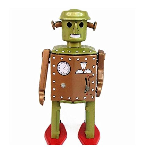 Classic Vintage Clockwork Wind Up Retro Robot Photography Children Kids Tin Toys With Key (125g Tin)
