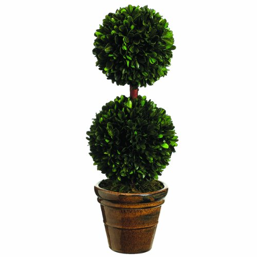 Silk Decor Preserved Boxwood Double Ball Topiary, 18.5-Inch, Green