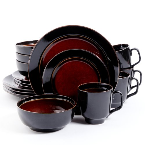 Gibson Elite Bella Galleria 16 Piece Dinnerware Set, Red/Black (Black Red And Dishes)