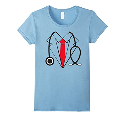 Baby Weightlifter Costume (Womens Doctor Costume Funny Halloween Tshirt Large Baby Blue)
