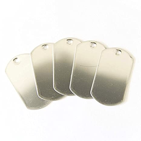 Amazon.com: 100 etiquetas de acero inoxidable estilo chapa ...