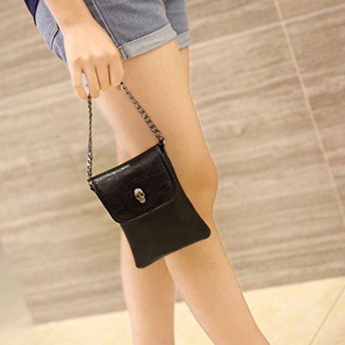 Small Vintage Leather Pouch Cross Mobile Purses Black Message Chain Women Skull Cell FAIRYSAN Bag body pfwxSqE