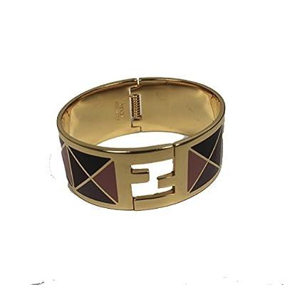 Fendi FF 'Fendista' Purple Geometric Pattern Gold Palladium Click Clack Bangle Bracelet 8AG137 F0P8U