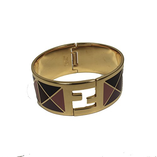 Fendi-FF-Fendista-Purple-Geometric-Pattern-Gold-Palladium-Click-Clack-Bangle-Bracelet-8AG137-F0P8U