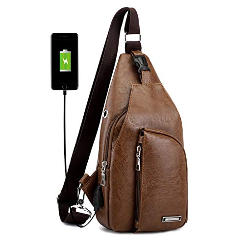 Men's Leather Sling Bag Shoulder Crossbody Chest Bag with USB Charge Port Casual Daypack Brown