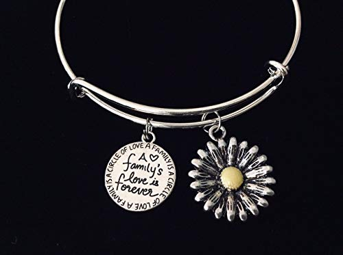 Sunflower A Families Love is Forever Adjustable Charm Bracelet Expandable Silver Bangle One Size Fits All Gift Family is a Circle of Love Custom and Personalization Options Available