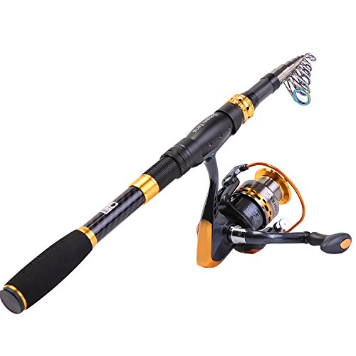 Sougayilang Fishing Rod Reel Combos Carbon Fiber Telescopic Fishing Pole with Spinning Reel for Travel Saltwater Freshwater Fishing-2.4M/7.87Ft