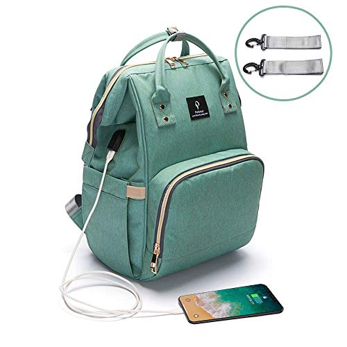 Baby Diaper Bag Backpack,NUTK Multi-Function Waterproof Nappy Bags,Large Capacity, Durable and Stylish Travel Backpack with USB Charging Port for Mom Students Men Girls Boys,Green